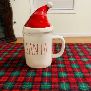 Rae Dunn SANTA mug with Christmas hat topper